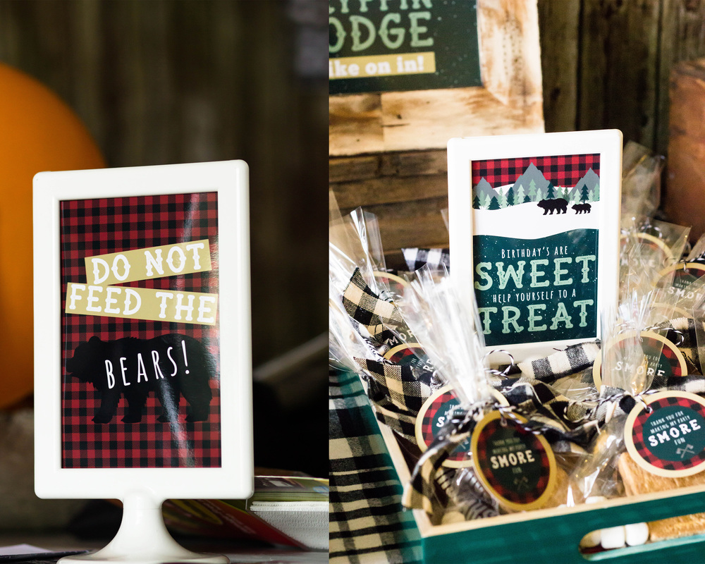 Party signs at a Lumberjack birthday | MKKM Designs