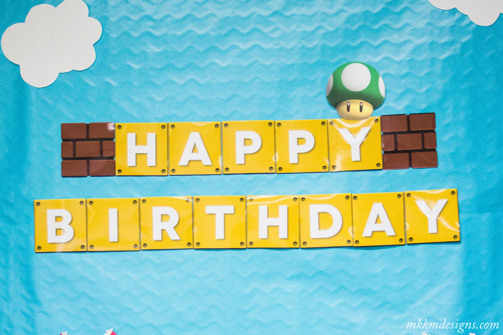 Free Printable Super Mario Birthday Banner by MKKM Designs
