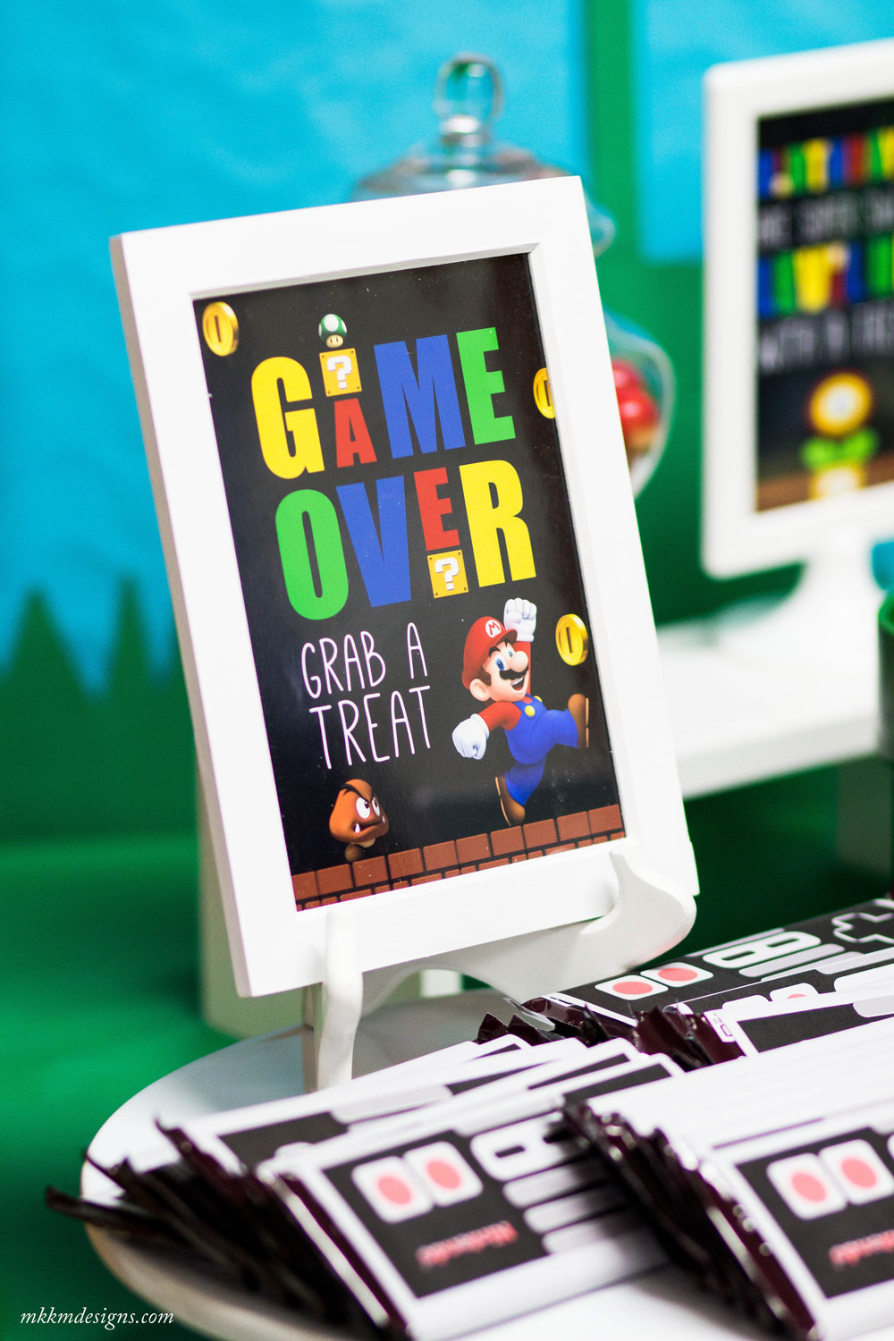 Game Over, Treat Sign. Free Printable Super Mario Signs by MKKM Designs