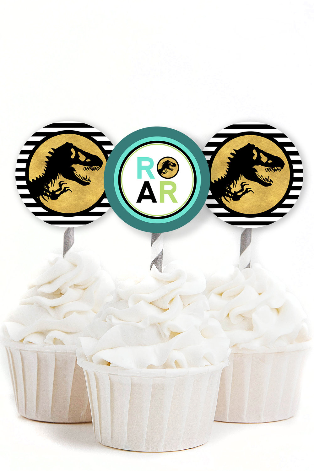 Free Printable Jurassic Park Inspired Cupcake Toppers By MKKM Designs