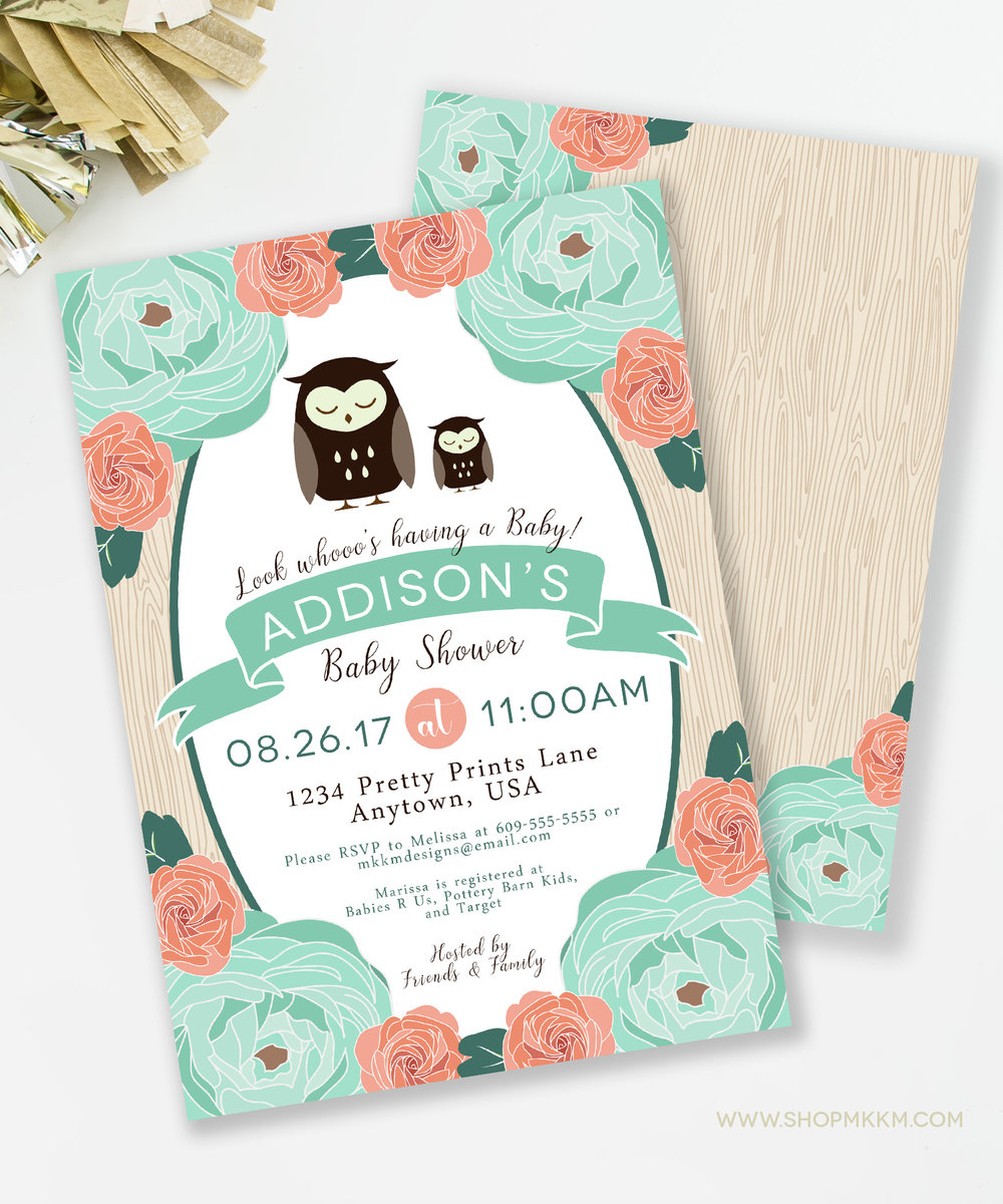 Rustic Owl themed baby shower invite.