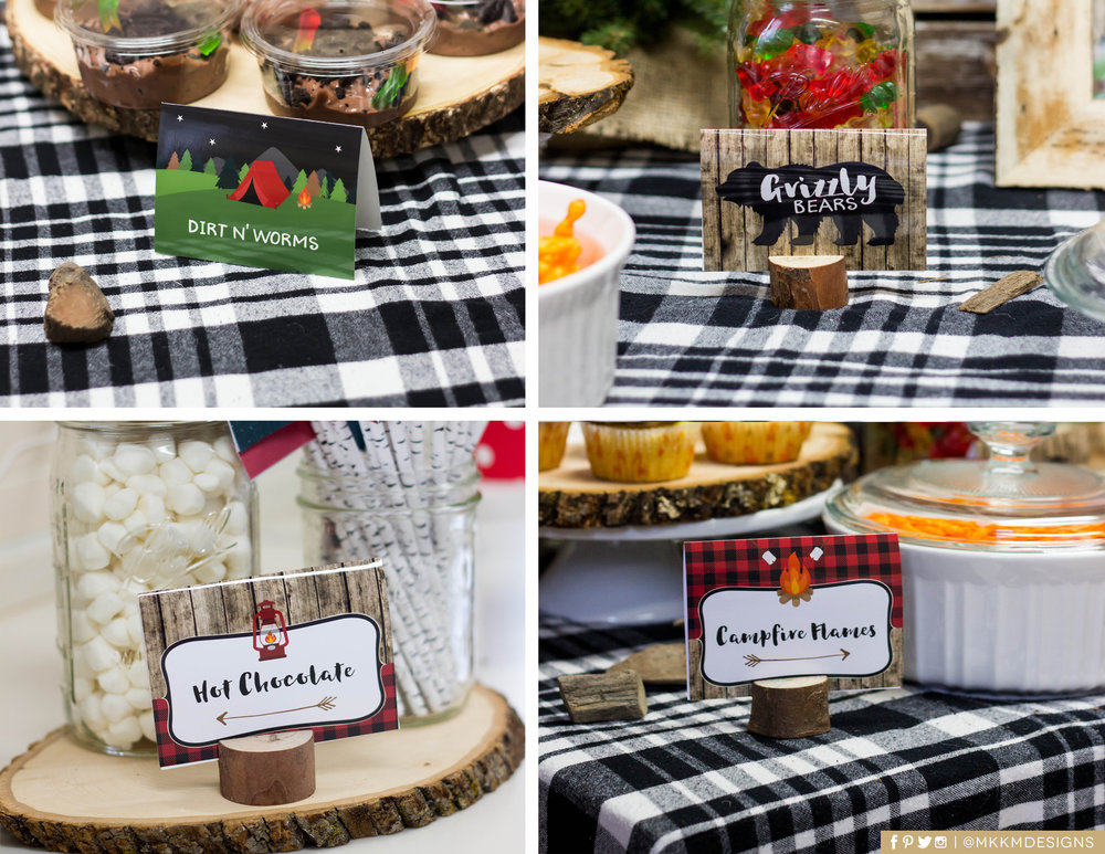 Camping themed food cards by MKKM Designs
