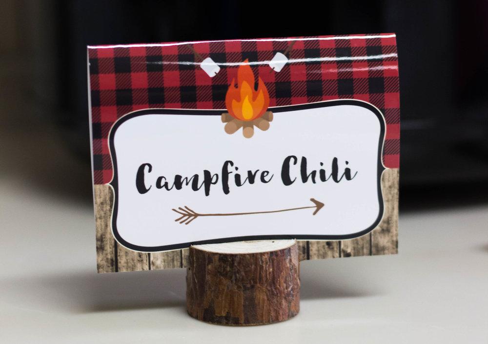 Campfire Chili food card at a camping birthday.