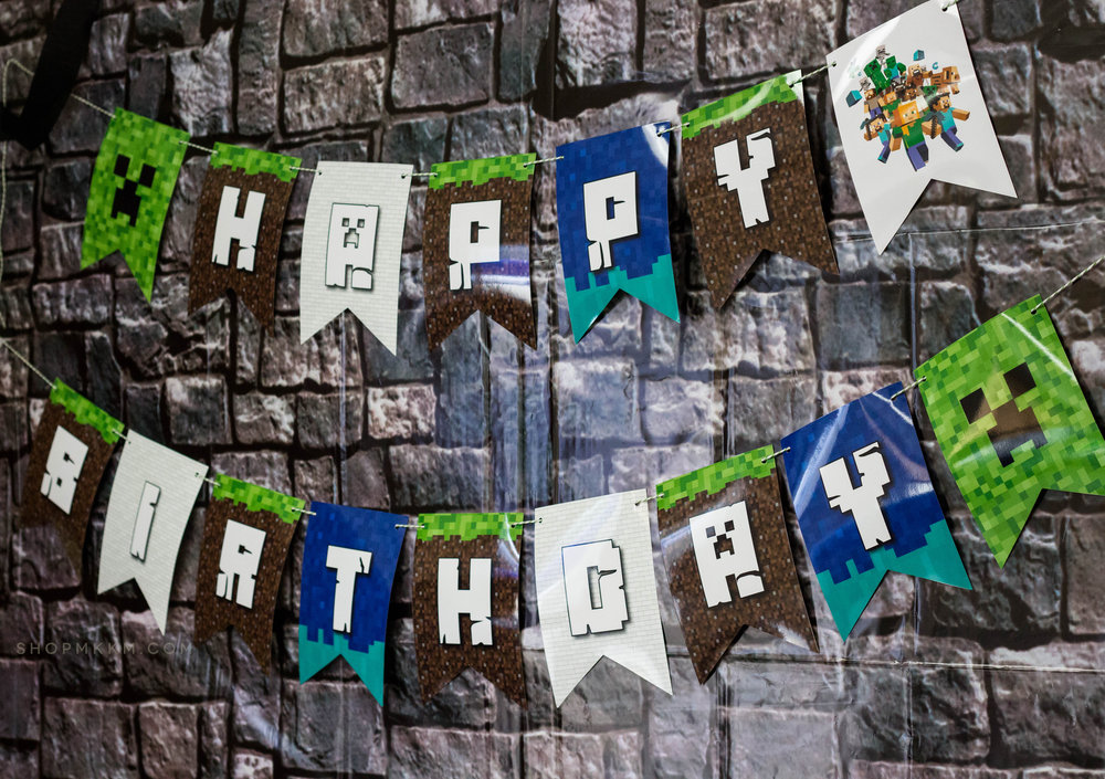 Happy birthday banner from a Minecraft birthday