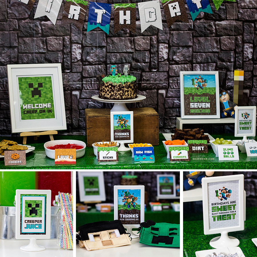 Minecraft Party Setup by MKKM Designs. Grab the free printables at shopmkkm.com