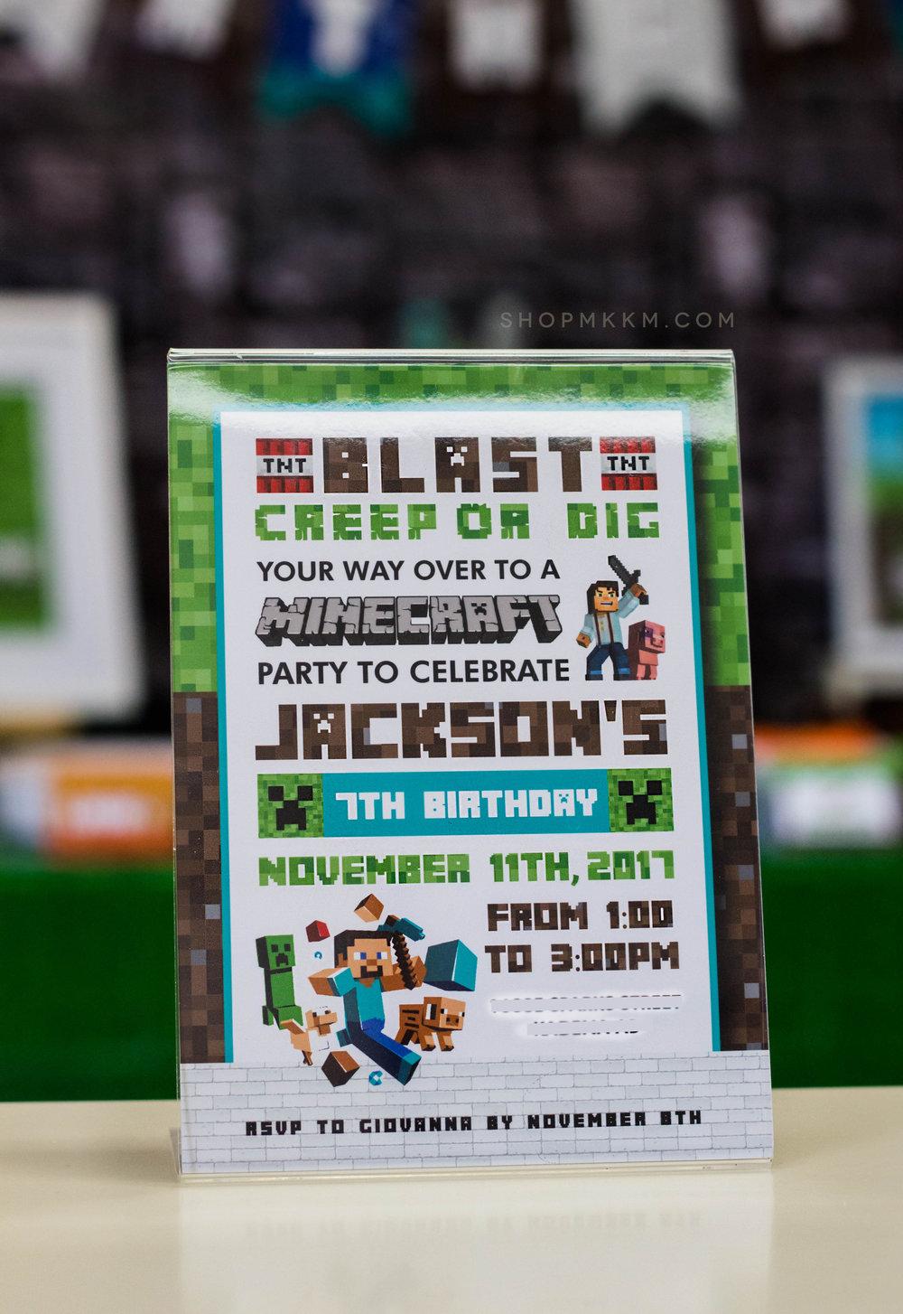 Minecraft Party Invitation by MKKM Designs