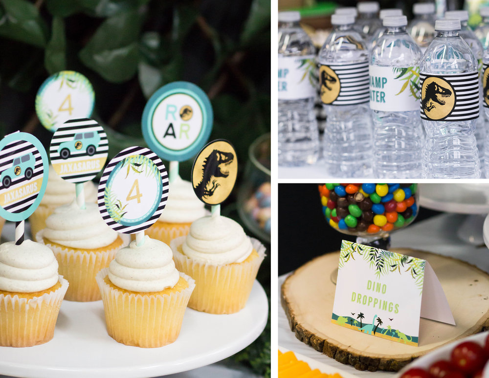 Dinosaur party printables, ideas, and free cupcake toppers from shopmkkm.com