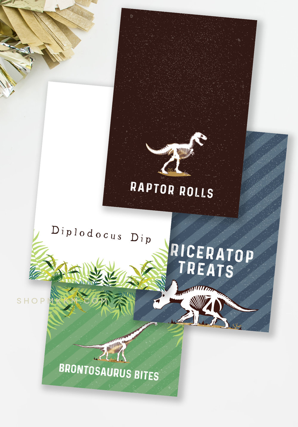 Free Dinosaur themed Food Cards from MKKM Designs.