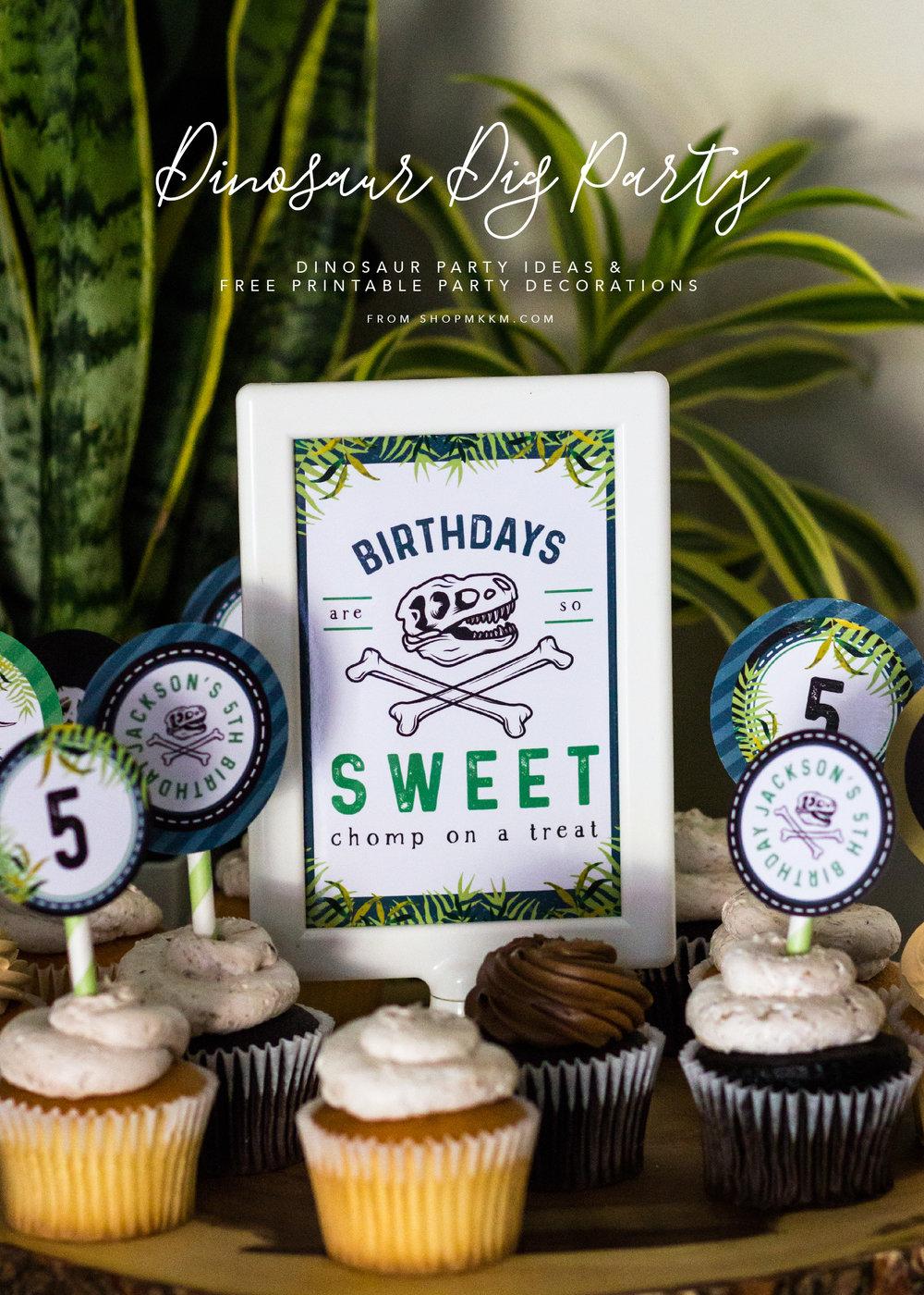 Dinosaur Dig Party. Dinosaur Party ideas and free printables from shopmkkm.com