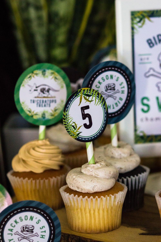 Dinosaur cupcake toppers from shopmkkm.com