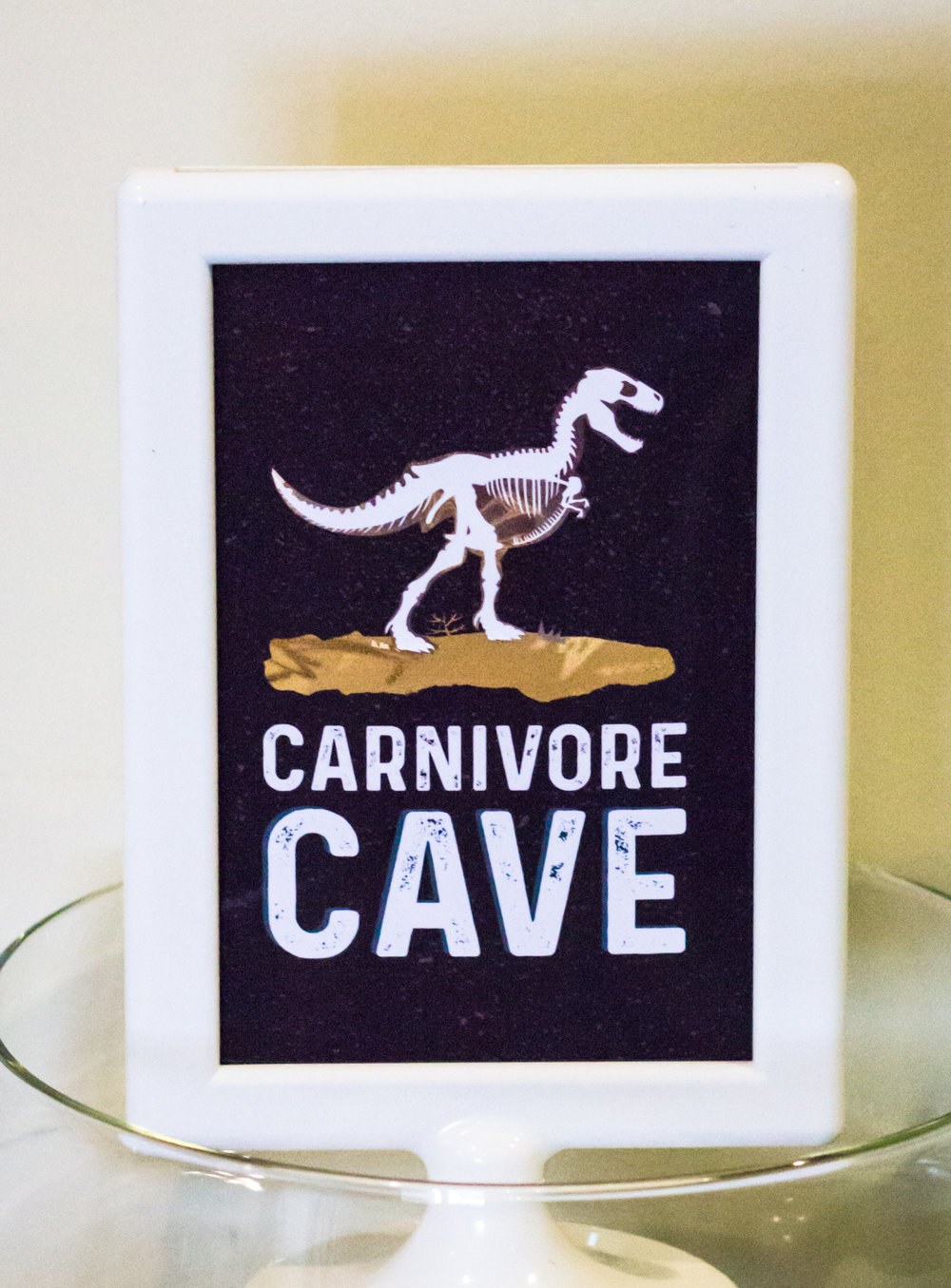 Carnivore Cave party sign from shopmkkm.com
