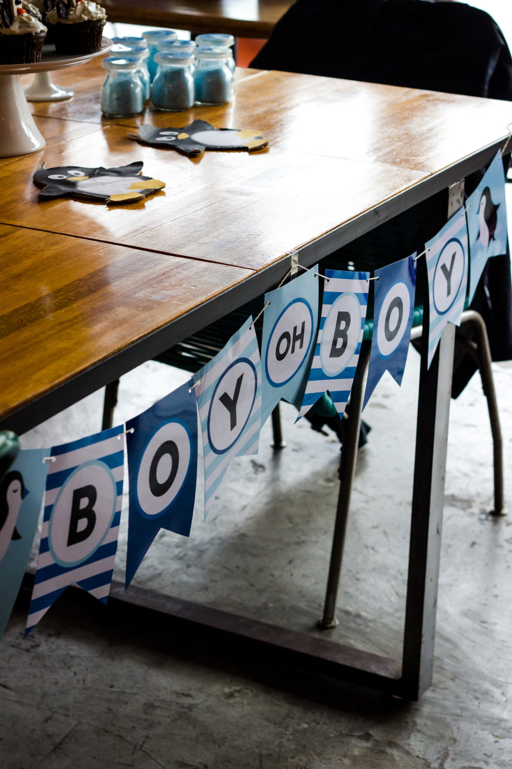 Boy Oh Boy banner from a penguin baby shower.