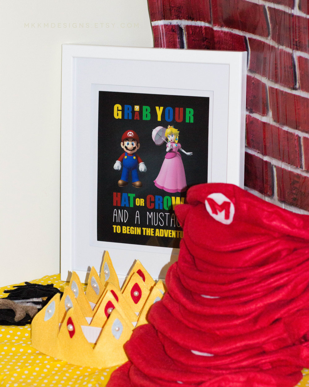Grab a Hat or Crown station for a Super Mario Birthday Party. Designs by shopmkkm.com