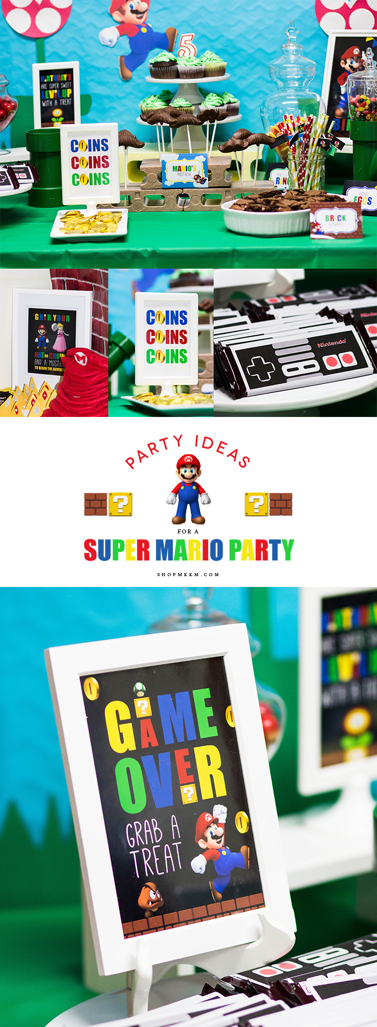 Party ideas for a Super Mario Birthday Party. Free printable signs and candy wrappers on the shopmkkm.com blog.