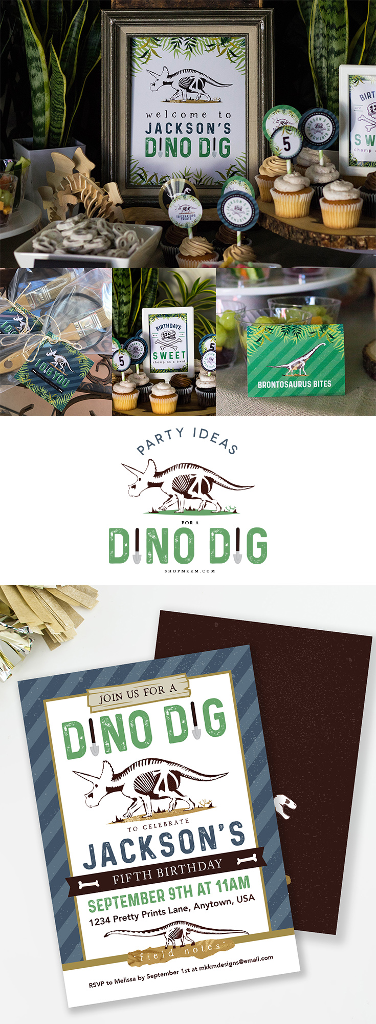 Party ideas for a Dinosaur Dig. Free printables and tons of dinosaur party ideas for a little paleontologist. Designs from Melissa at mkkmdesigns.