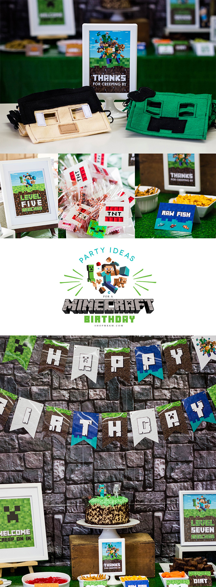 Minecraft birthday party planning ideas. Check out the blog for free minecraft printables and lots of party ideas to make your party a blast!