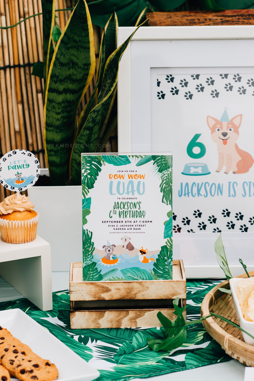 Bow Wow Luau invitation from a puppy birthday party. Designs by MKKM Designs.