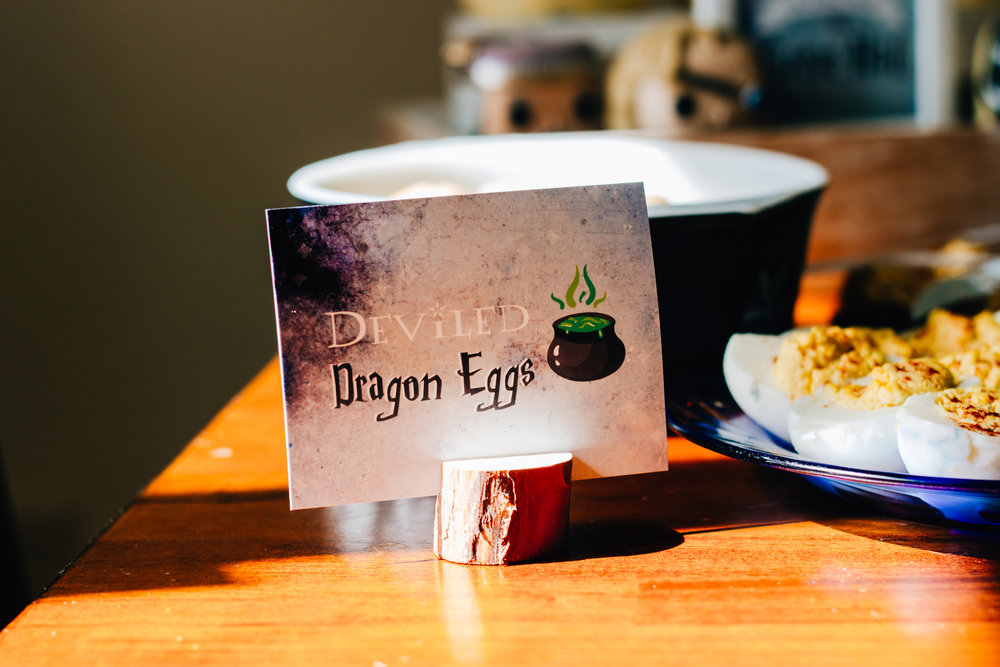 Deviled Dragon Eggs. Free printable Harry Potter food cards from shopmkkm.com