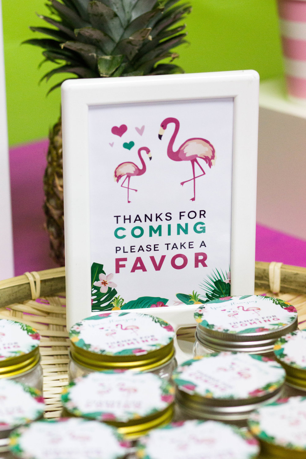 Flamingo baby shower favor sign // designs from shopmkkm.com