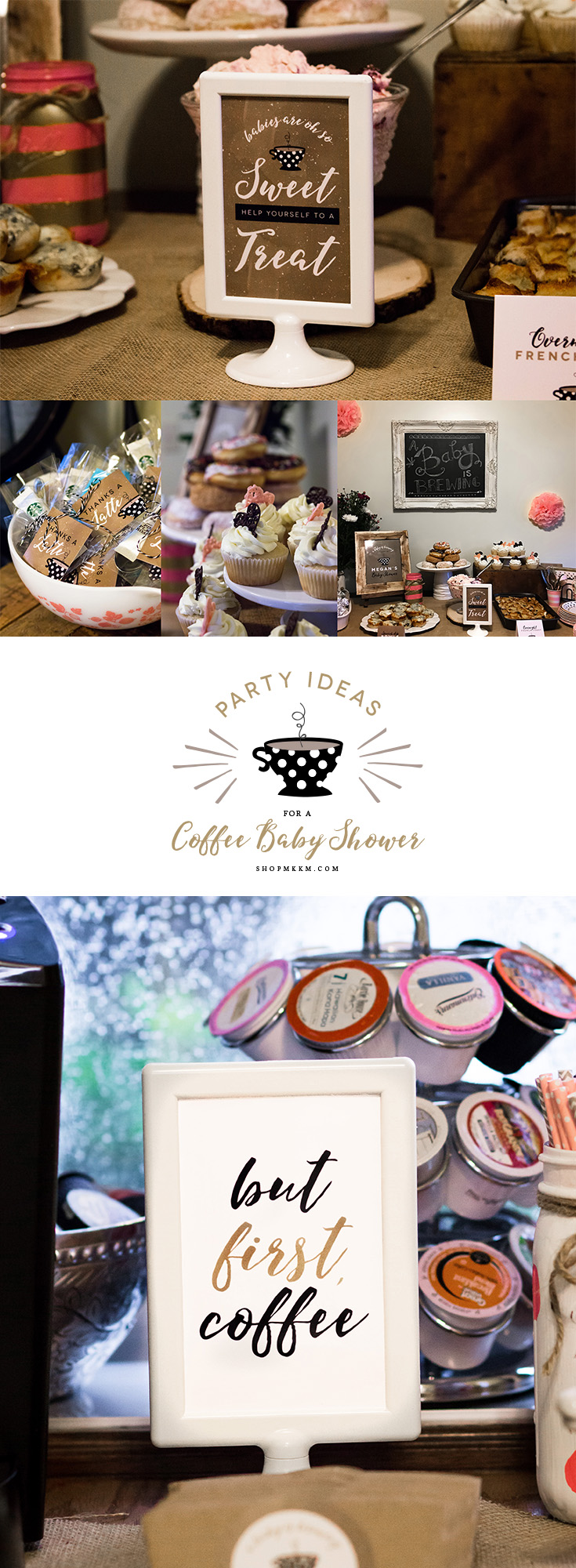 Party ideas for a coffee baby shower. Grab some decor ideas and a free editable coffee sticker on the blog. // shopmkkm.com