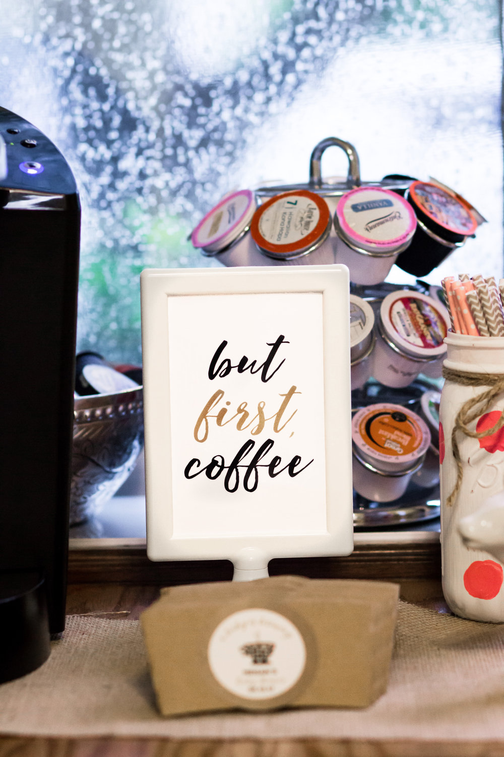 But First Coffee sign from shopmkkm.com, featured at a Coffee Baby Shower. Set up a coffee bar to make a shower cozy.