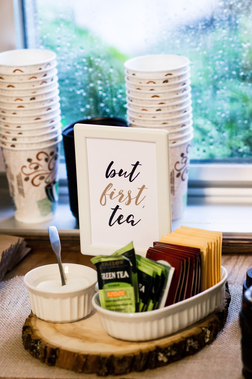 "But first tea sign at a ""Baby is Brewing"" themed baby shower. This coffee and tea bar was a big hit. // designs from mkkmdesigns.com"
