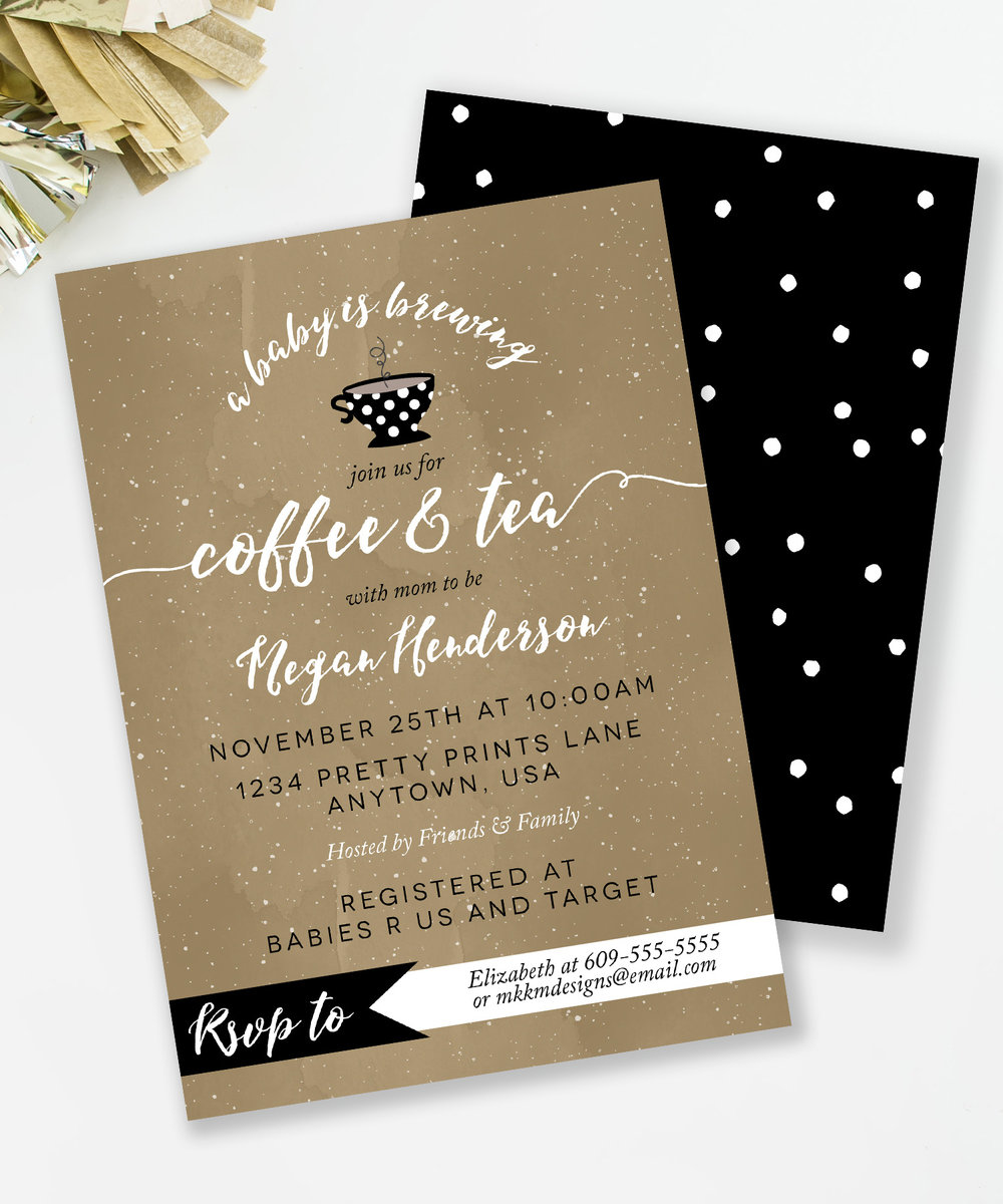 A Baby is Brewing invitation for a coffee and tea baby shower. Also available in Coffee and Cake and Coffee and Cocoa themes. // Designs from mkkmdesigns.com
