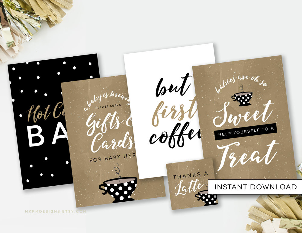 A Baby is Brewing themed table signs. The perfect party signs for a coffee baby shower. Includes a Gift Table Sign, Hot Cocoa Bar, But First Coffee and more.