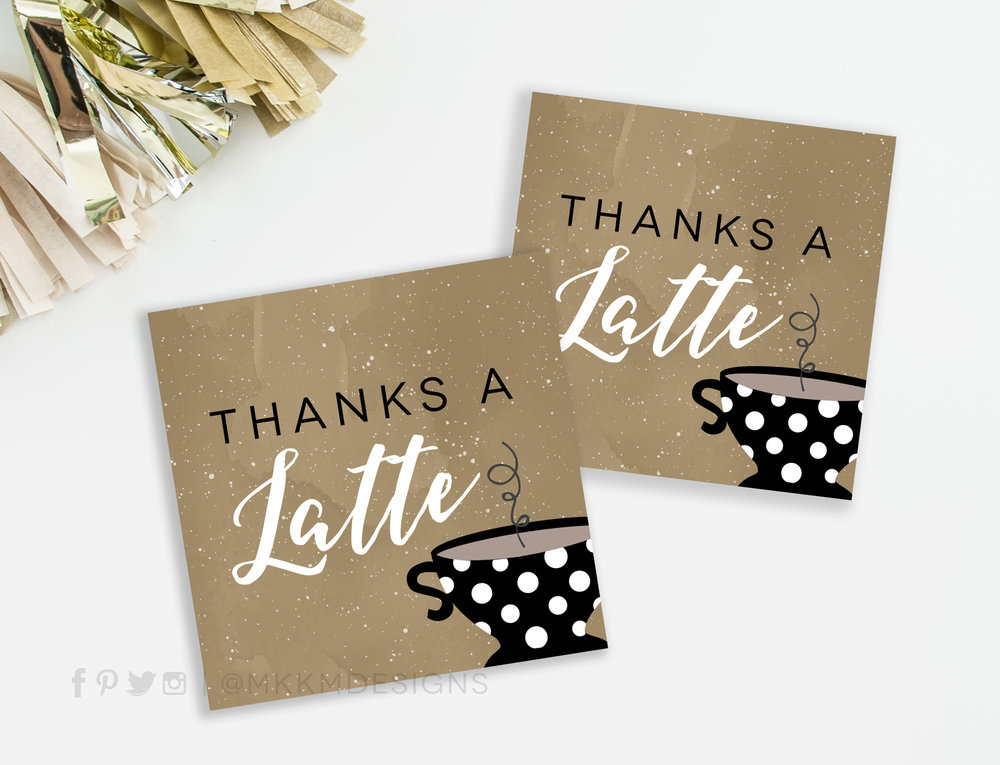 Thanks A Latte favor tags available in our etsy shop // mkkmdesigns.com