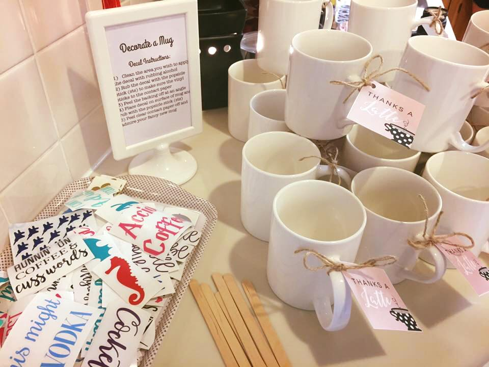 Make your own mug station at a Coffee themed baby shower.