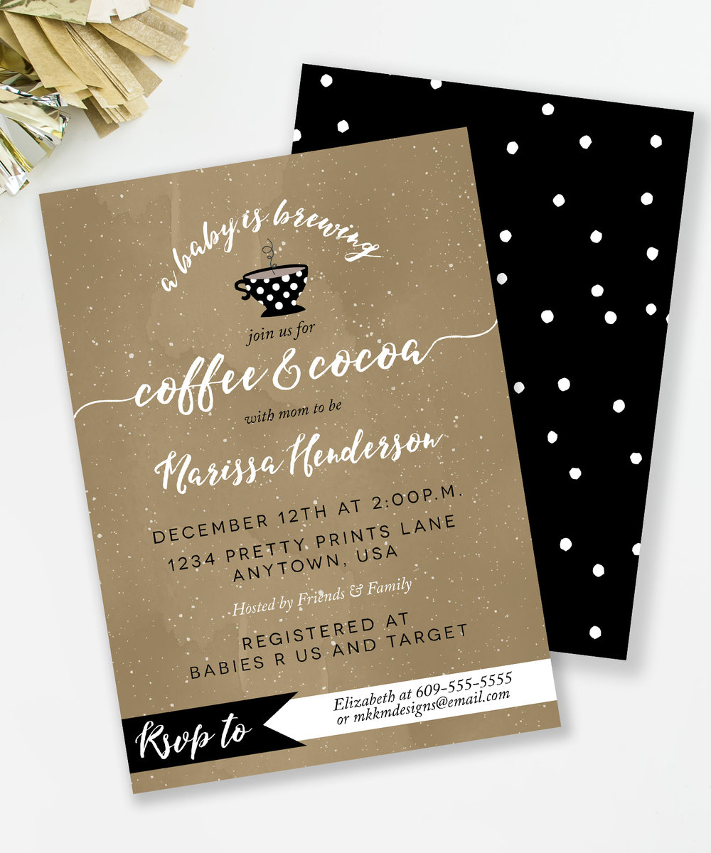 Coffee and Cocoa baby shower theme. Grab the invite from the girls at MKKM Designs