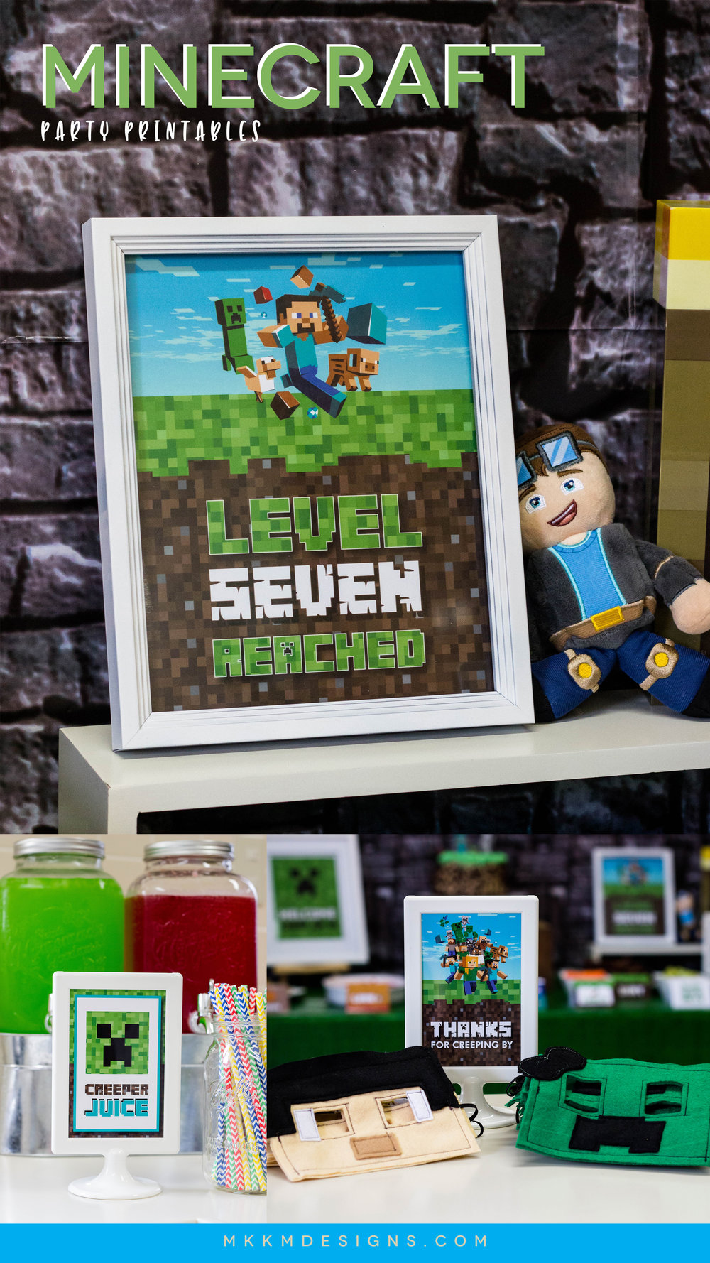 Minecraft Party Printables, Grab some free Minecraft birthday party decor and get some tips on decorating for a Minecraft Birthday Party // mkkmdesigns.com