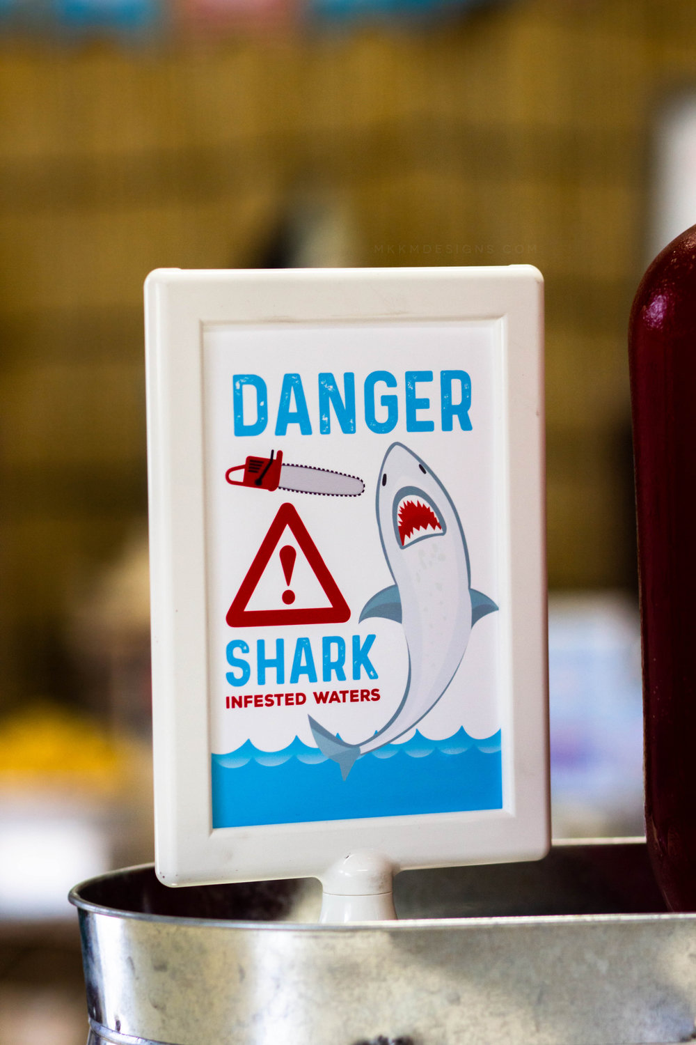 Shark Infested Waters party sign for a Sharknado themed birthday party // mkkmdesigns
