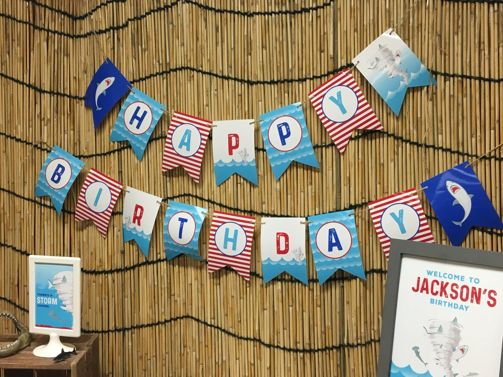 Sharknado themed birthday banner // mkkmdesigns