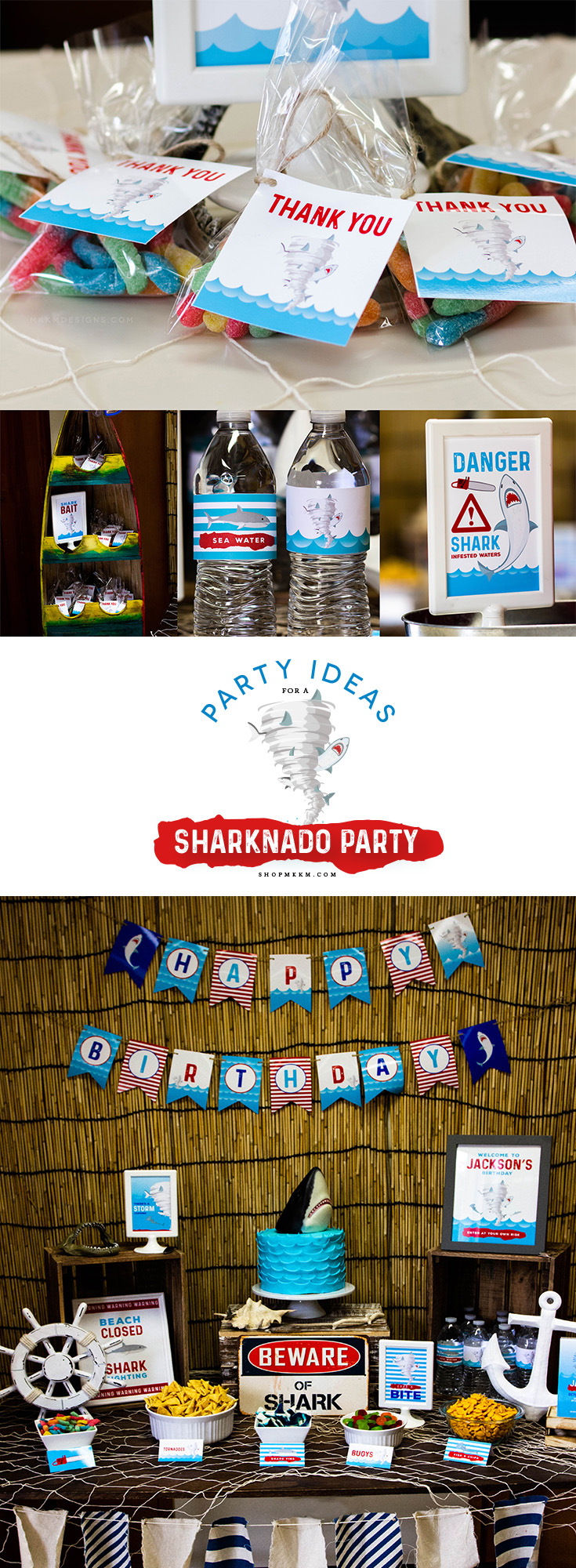 Sharknado Birthday Party Recap on the blog! Grab some free printables and party inspiration for a sharknado, or shark themed birthday party. // mkkmdesigns