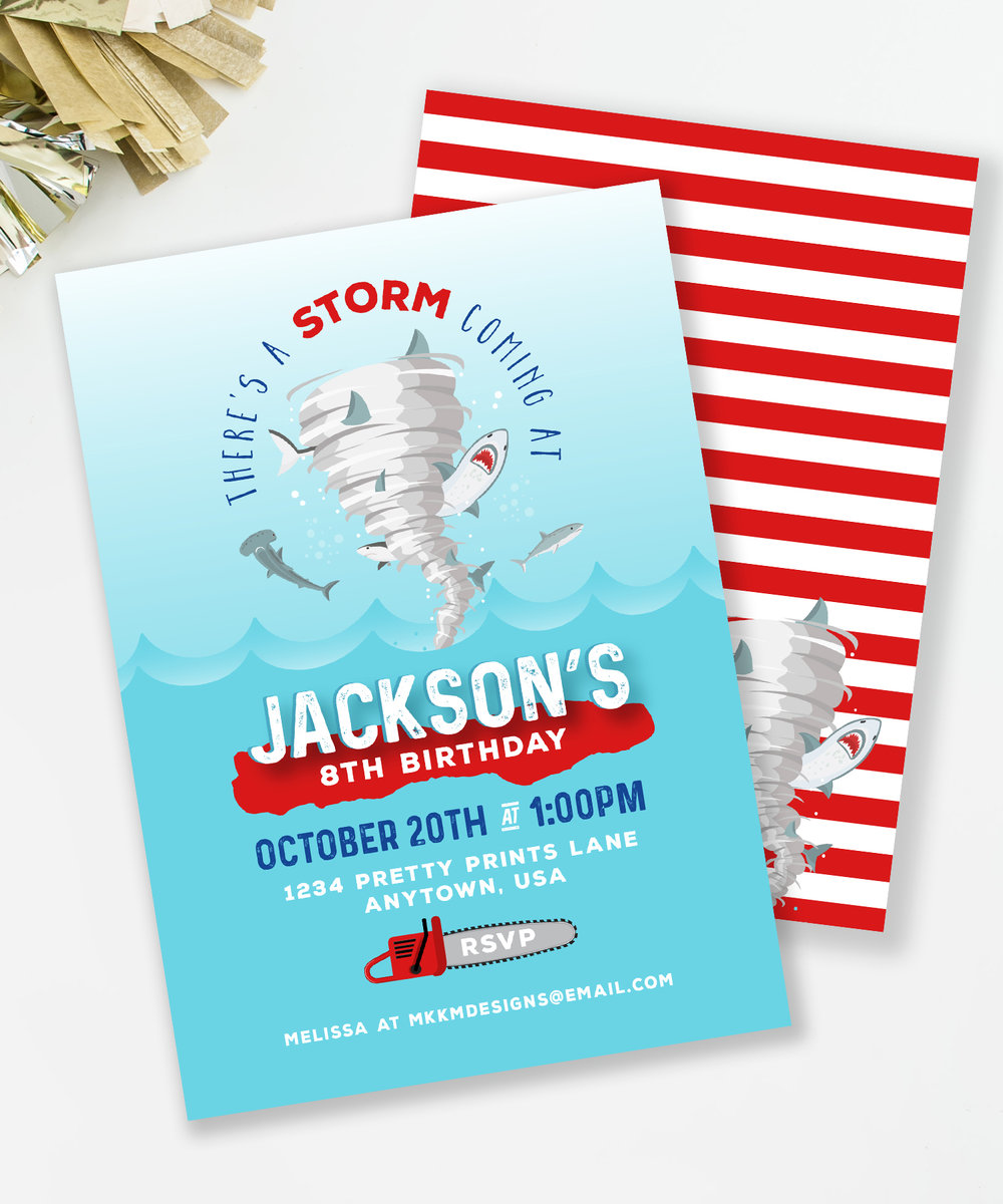 Sharknado Birthday Party Invitation // Shark Birthday Party Invite // MKKM Designs