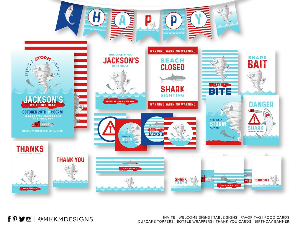 Sharknado Birthday Party Kit - Boy Birthday Party Ideas // mkkmdesigns