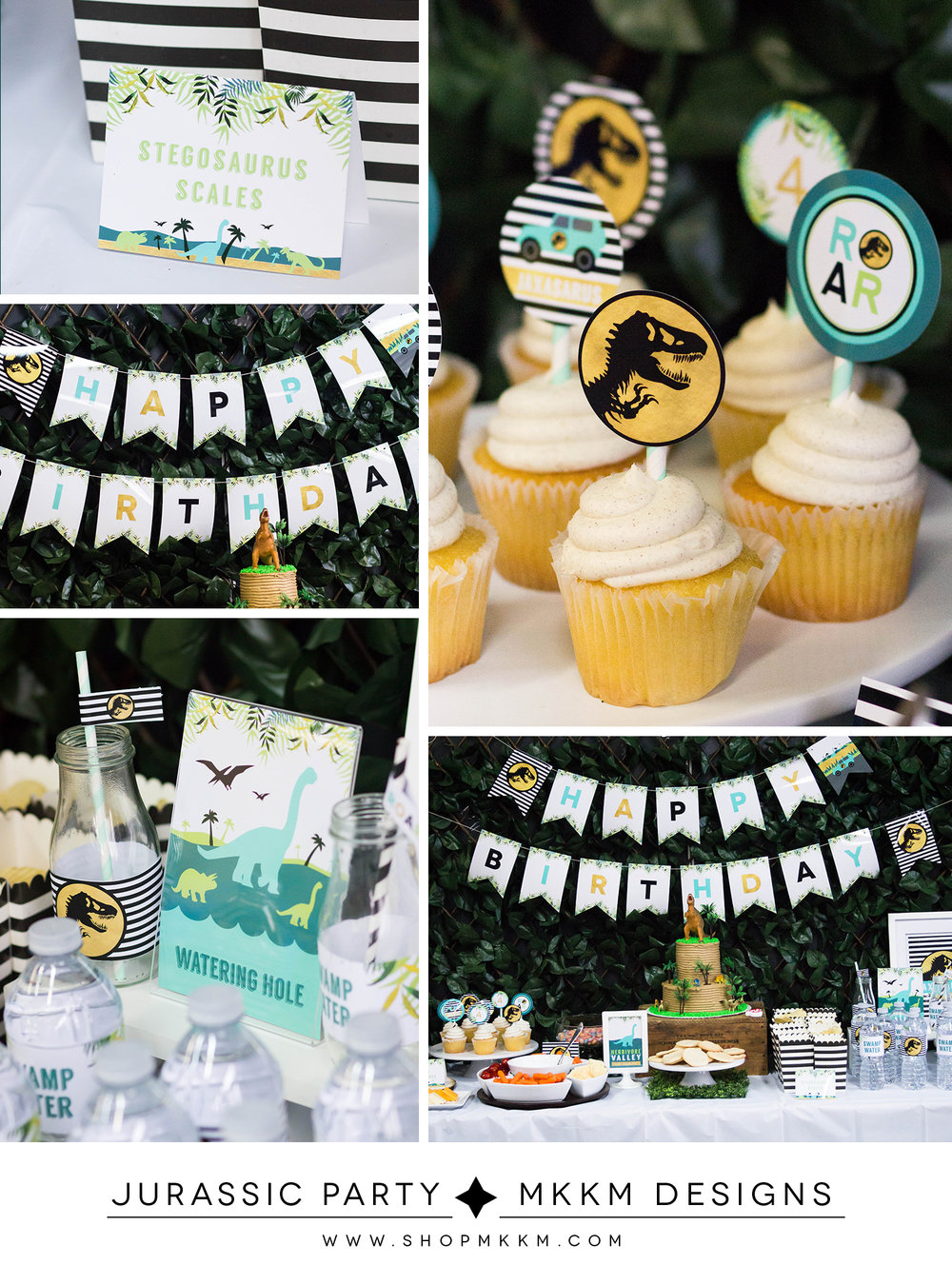 Jurassic Park Inspired birthday decor and free printable cupcake toppers. Designs from MKKM Designs
