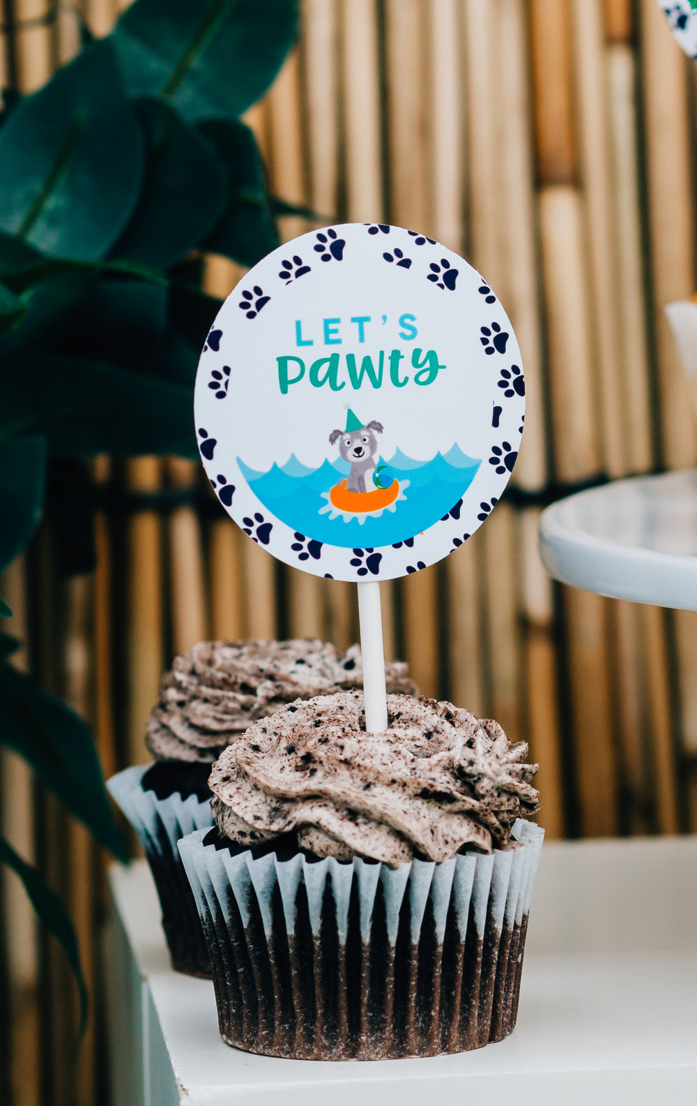 Let's Pawty at a tropical puppy party. Designs from MKKM Designs