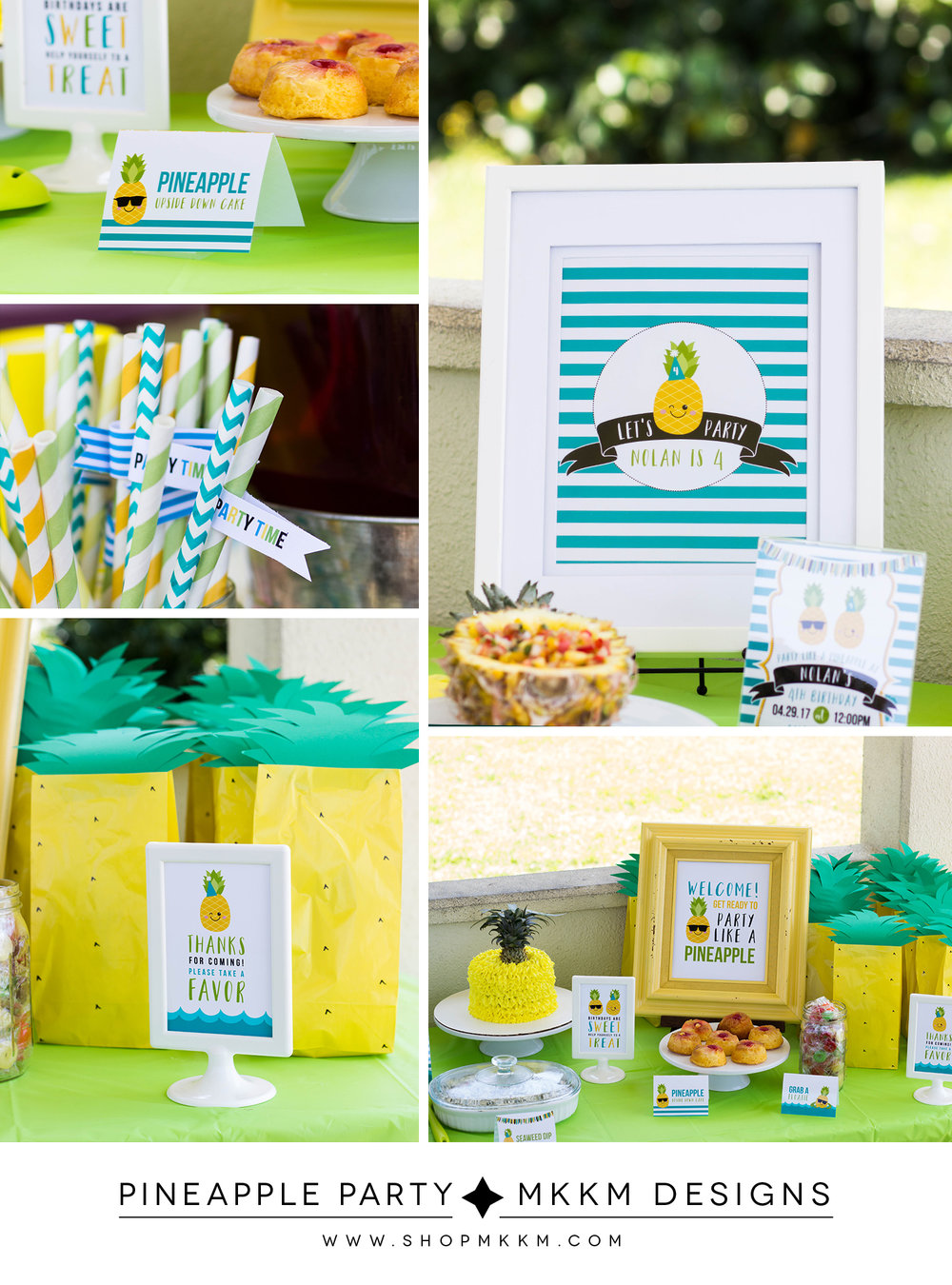 Pineapple party decor and free printable favor sign // mkkm designs
