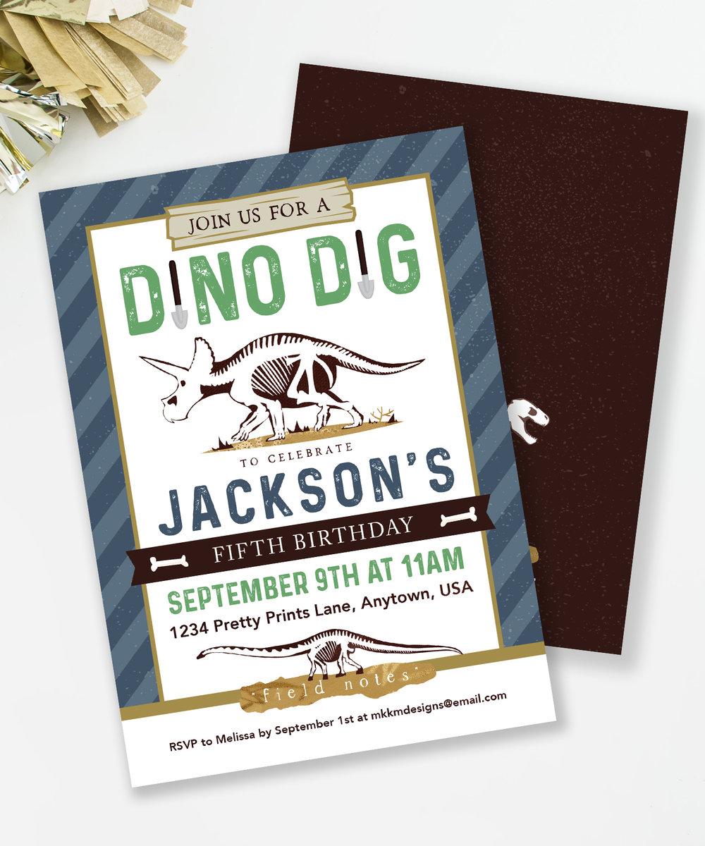 Dino Dig Party Invitation // mkkmdesigns