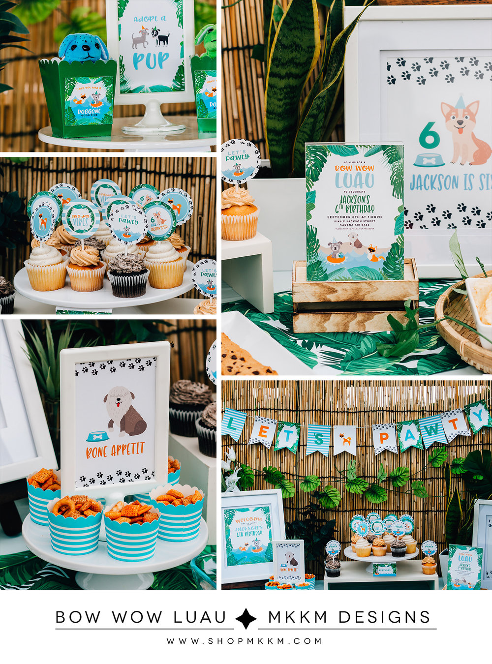 Bow Wow Luau, A Puppy party designed by MKKM Designs. Grab the free printable Adopt A Puppy signs and adoption certificate.