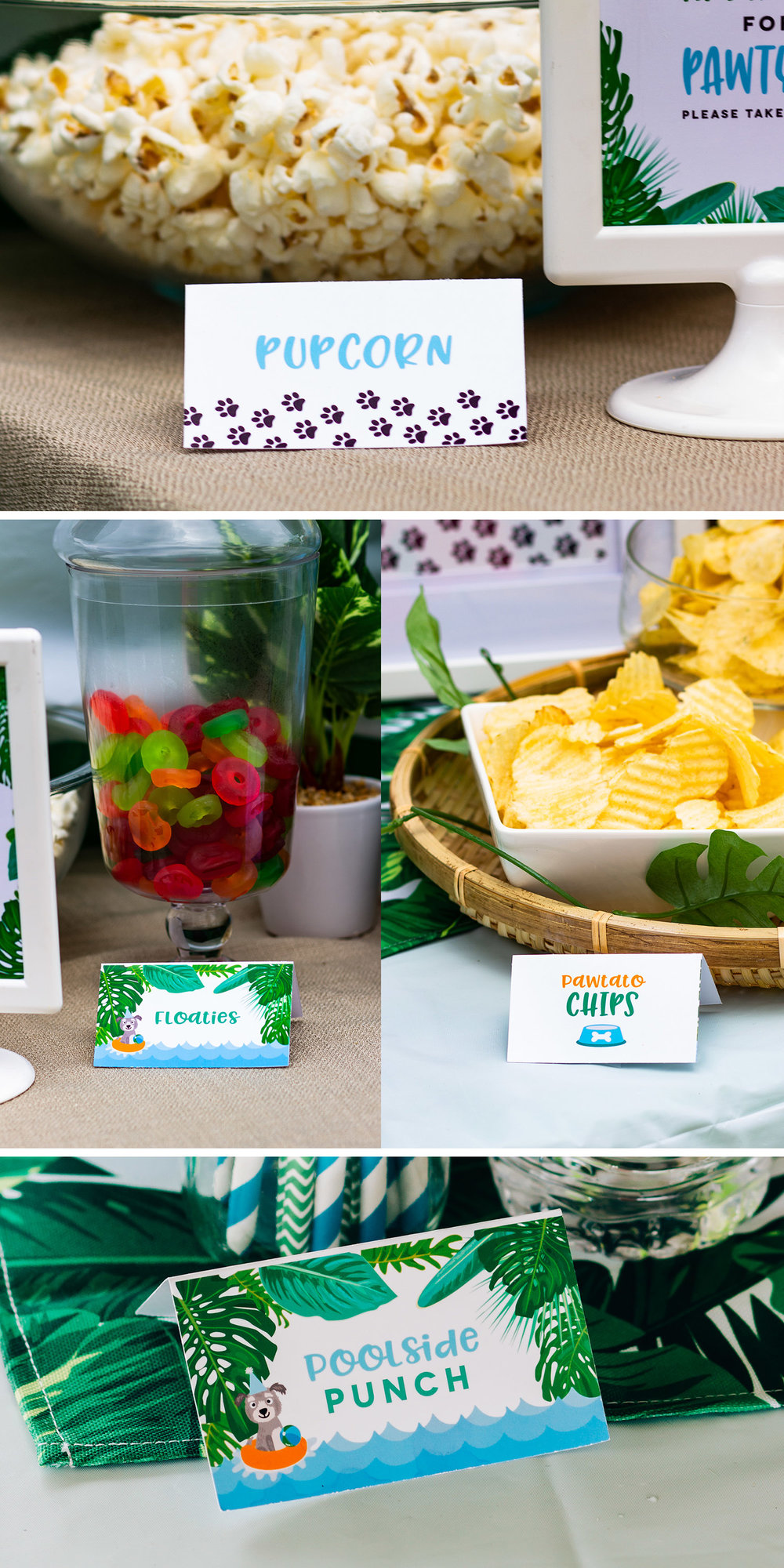 Puppy party food ideas - Pawtato Chips, Pupcorn, and more // mkkmdesigns