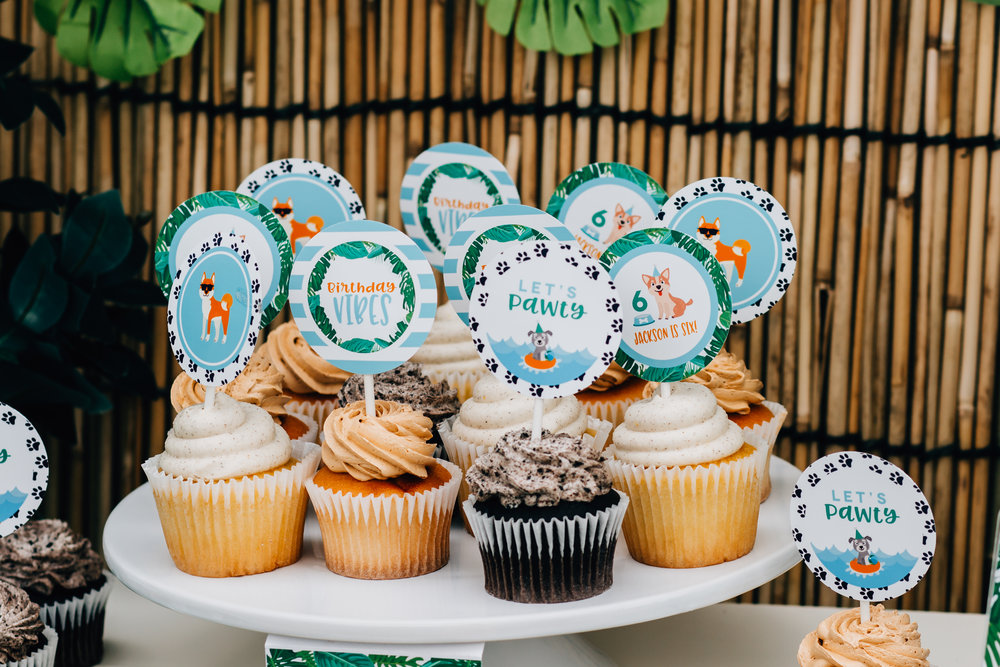 Custom cupcake toppers for a tropical puppy party // mkkmdesigns