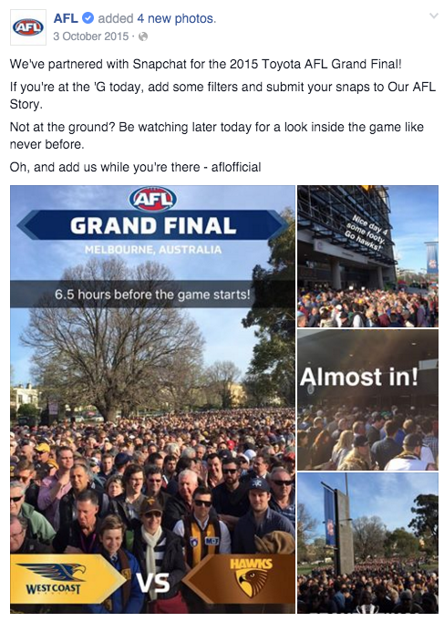 The AFL utilised Snapchat for the first time at the 2015 AFL Grand Final between Hawthorn and West Coast.