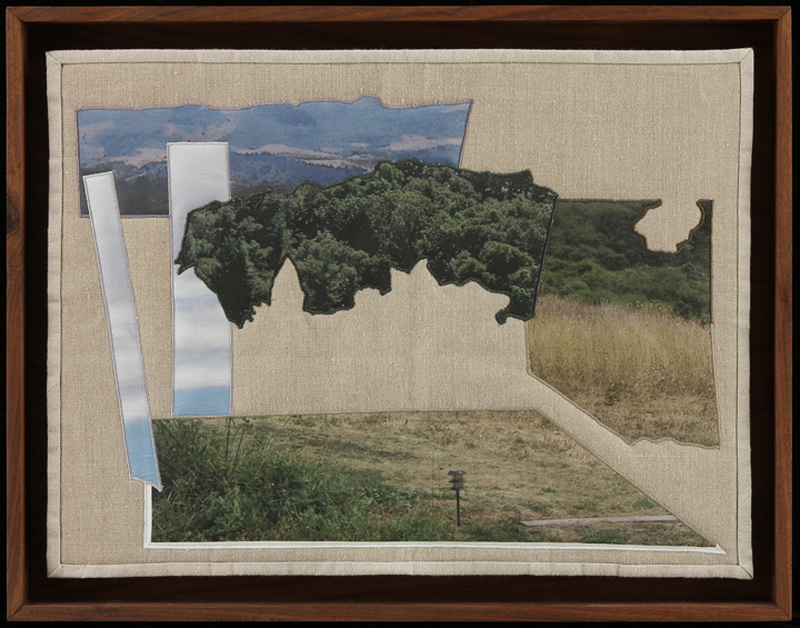 "It Comes Back In Fits and Starts III, 2014 21.75"" x 26.75"" framed Quilt: linen canvas, batting, thread, muslin"