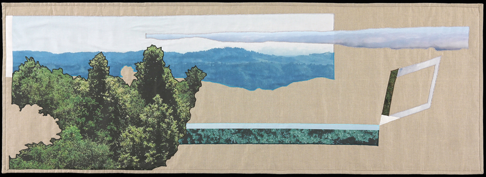 "Heading to the Hills, 2014 22""x64""  Quilt: linen canvas, kona cotton, batting, thread, muslin"