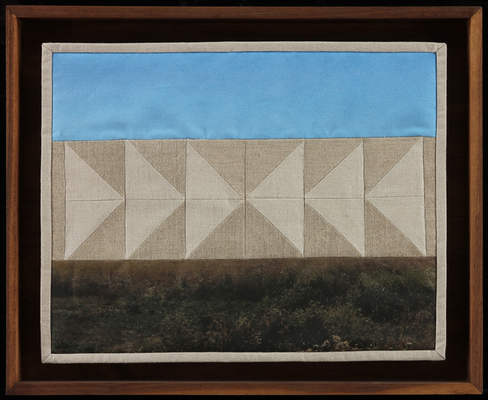 "Geese Collide Overhead, 2014 16"" x 20.5"" framed Quilt: linen canvas, batting, thread, muslin"