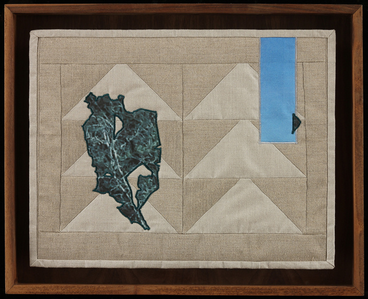 "Bare Trees and Echoes, 2014 17.5 x 21.75"" framed Quilt: linen canvas, batting, thread, muslin"