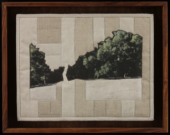 "When I Fish Around I Feel The Haunting II, 2014 16.5"" x 20.5"" framed Quilt: linen canvas, muslin, batting, thread"